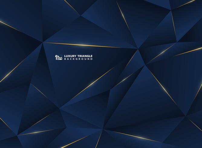 Linea dorata di lusso astratta con sfondo premium modello classico blu. Decorazione in pattern di stile poligono premium per pubblicità, poster, copertina, stampa, grafica. vettore