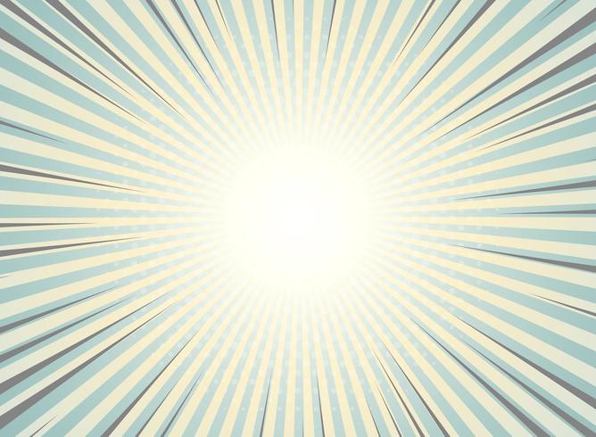 Il sole astratto ha scoppiato l'annata della priorità bassa di disegno del reticolo del semitono. Colori verdi e gialli con highlight di strisce a fumetti. Puoi usare per carta da parati, annuncio, copertina, stampa. vettore