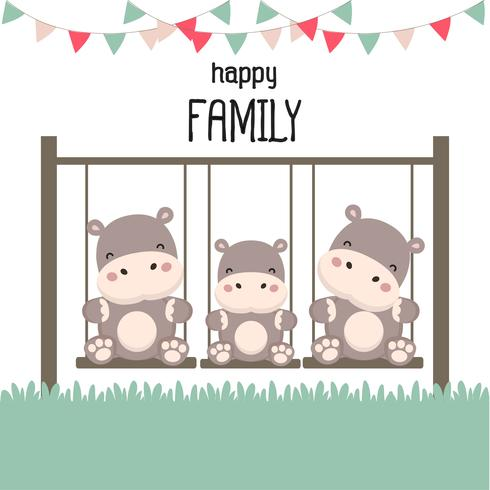 Famiglia felice con ippopotamo su altalena. vettore