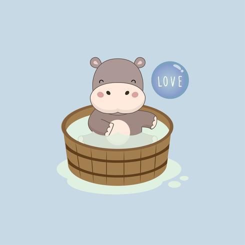Ippopotamo felice nella vasca da bagno di legno. vettore