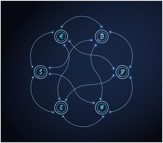 Set di simboli di valuta. Concetto di affari di finanza Vettore