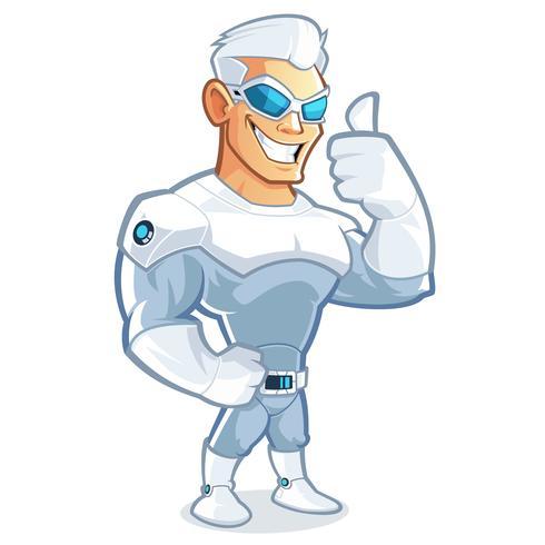 Mascotte del supereroe che mostra pollice sul segno vettore