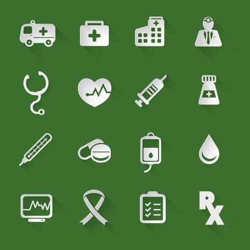 Icone piatte mediche vettore