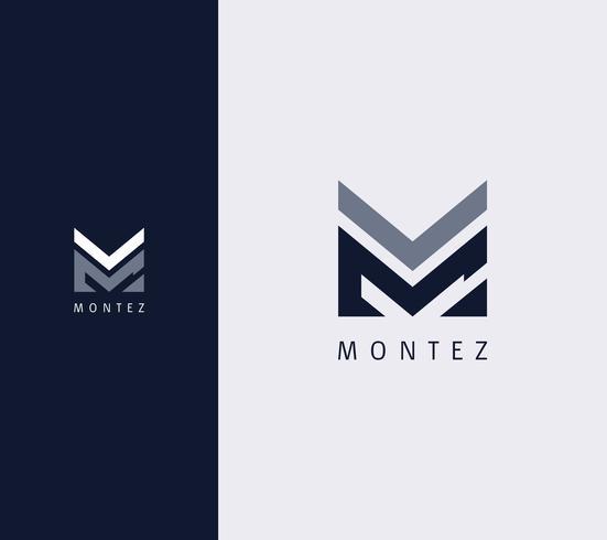 Sovrapposizione Lettera M Logo Design Template vettore