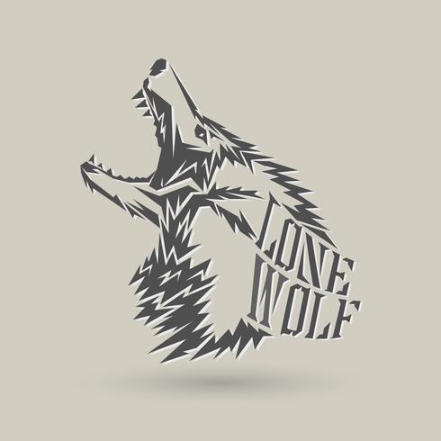 logo lupo solitario vettore