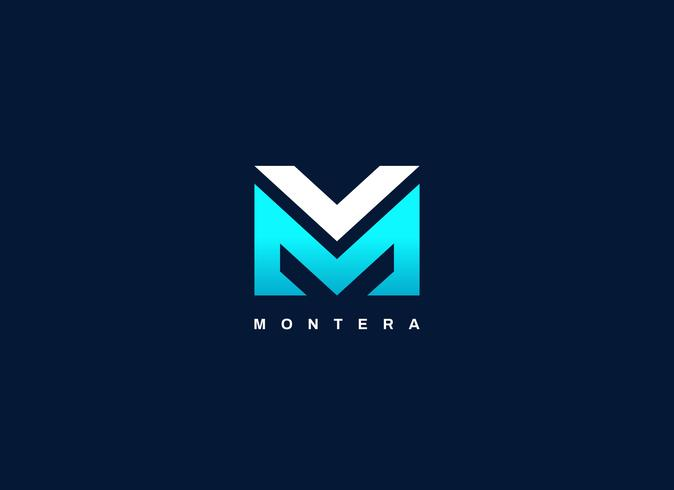 Lettera moderna tipo MV Blue Logo Shape vettore
