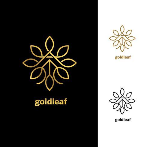 Il vettore floreale dorato lascia l'icona di simbolo del segno del modello di progettazione di logo