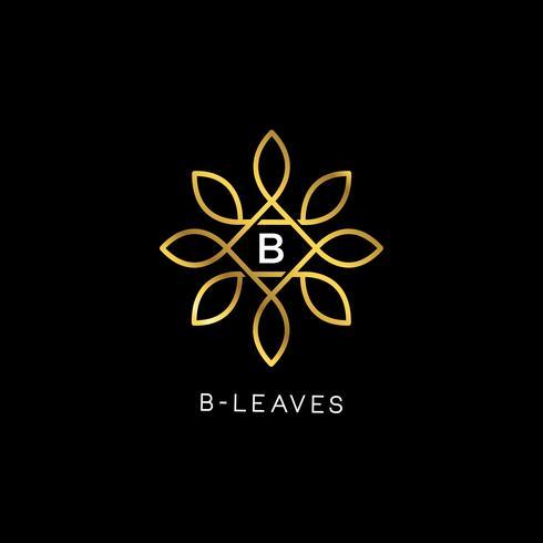 Vettore floreale dorato lascia la lettera iniziale tipo B Logo Design Template