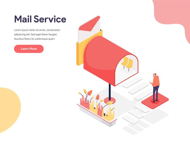 Concetto dell'illustrazione di servizio di posta. Concetto di design isometrico di progettazione di pagine Web per sito Web e sito Web mobile. Illustrazione di vettore