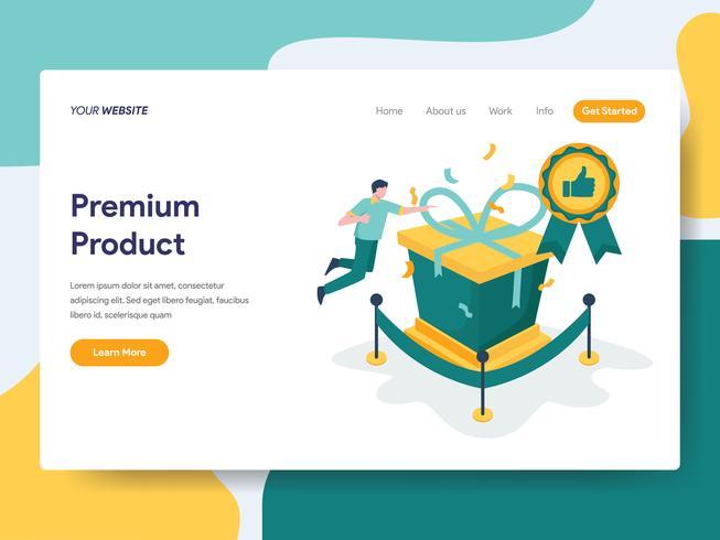 Modello di pagina di destinazione del concetto di illustrazione prodotto premium. Concetto di design piatto moderno di progettazione di pagine Web per sito Web e sito Web mobile. Illustrazione di vettore