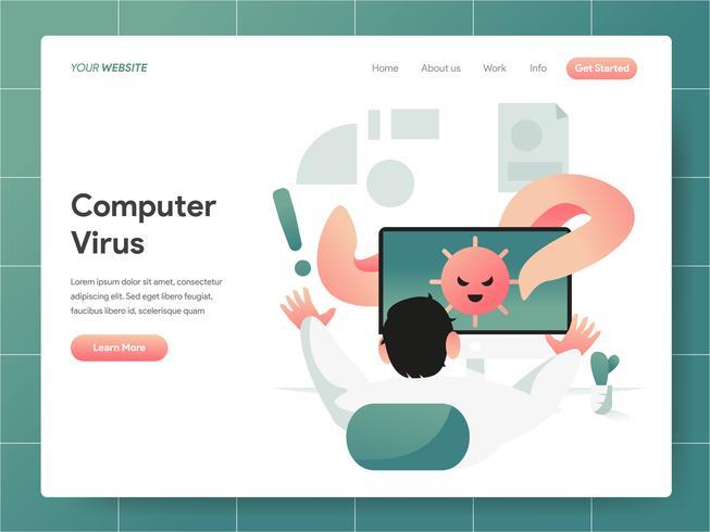 Concetto dell'illustrazione del virus informatico. Concetto di design moderno di progettazione di pagine Web per sito Web e sito Web mobile. Illustrazione di vettore 10 EPS