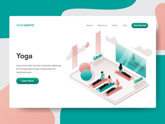 Modello della pagina di atterraggio del concetto dell'illustrazione della stanza di meditazione e di yoga. Concetto di design isometrico di progettazione di pagine Web per sito Web e sito Web mobile. Illustrazione di vettore