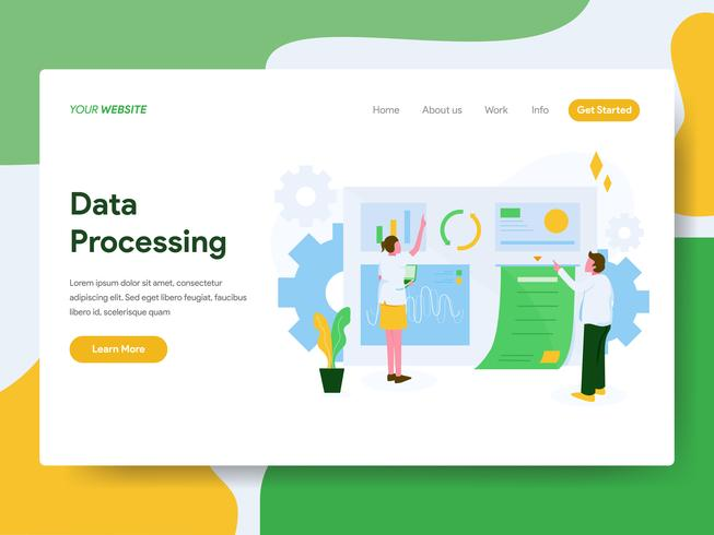 Modello della pagina di atterraggio del concetto dell'illustrazione di elaborazione dei dati. Moderno concetto di design piatto di progettazione di pagine Web per sito Web e sito Web mobile. Illustrazione di vettore