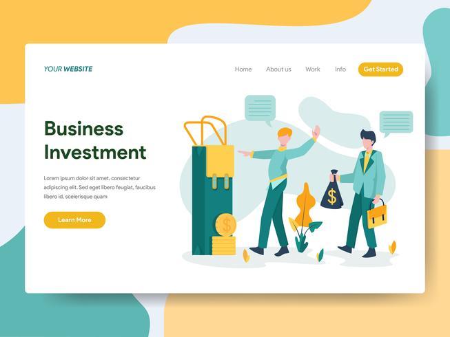 Modello della pagina di atterraggio del concetto dell'illustrazione di investimento aziendale. Moderno concetto di design piatto di progettazione di pagine Web per sito Web e sito Web mobile. Illustrazione di vettore