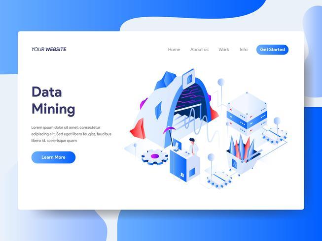 Modello di pagina di destinazione del concetto di illustrazione isometrica Data Mining. Concetto di design piatto isometrica della progettazione di pagine Web per sito Web e sito Web mobile. Illustrazione di vettore
