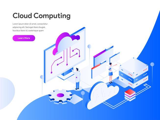 Concetto isometrico dell'illustrazione di calcolo della nuvola. Concetto di design piatto moderno di progettazione di pagine web per sito Web e sito Web mobile. Illustrazione di vettore 10 EPS