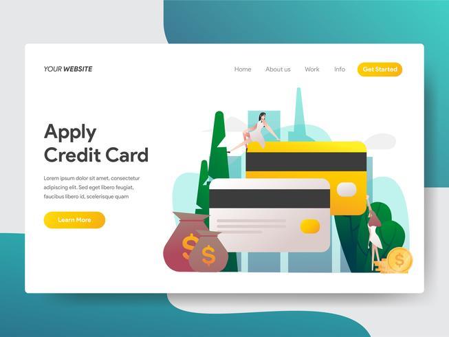 Il modello della pagina di atterraggio di applica il concetto dell'illustrazione della carta di credito. Concetto di design piatto moderno di progettazione di pagine Web per sito Web e sito Web mobile. Illustrazione di vettore