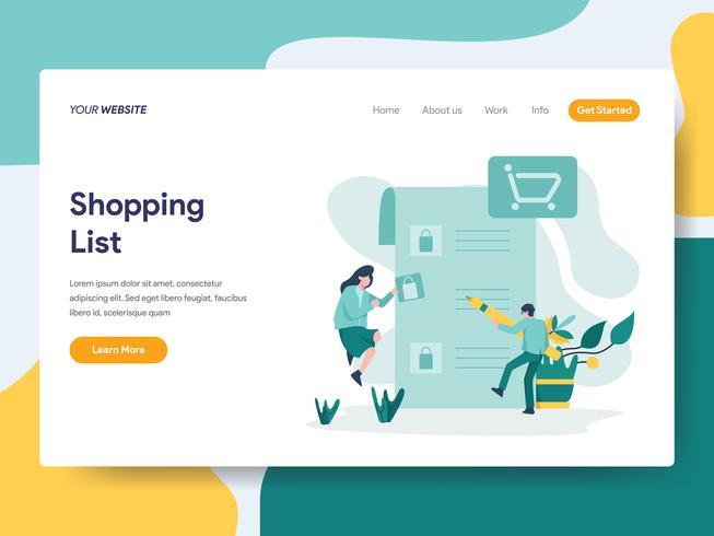 Modello della pagina di atterraggio del concetto dell'illustrazione della lista di acquisto. Concetto di design piatto moderno di progettazione di pagine Web per sito Web e sito Web mobile. Illustrazione di vettore