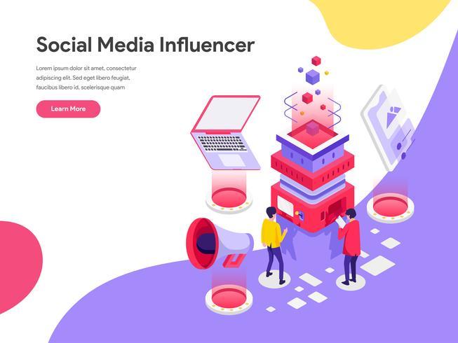 Modello della pagina di atterraggio del concetto dell'illustrazione dell'influencer di media sociali. Concetto di design piatto isometrica della progettazione di pagine Web per sito Web e sito Web mobile. Illustrazione di vettore