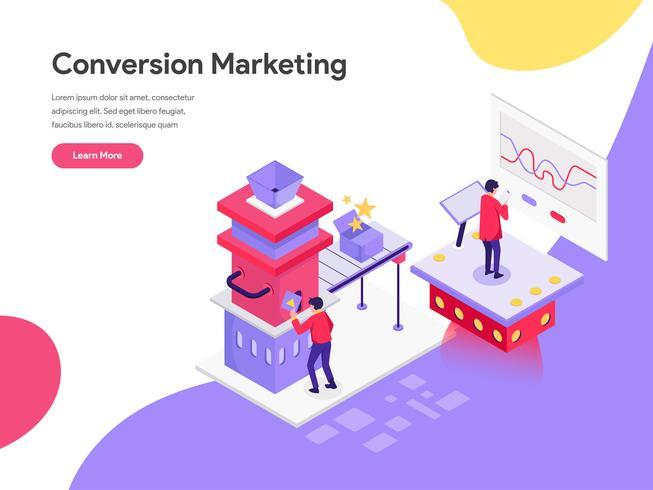 Modello della pagina di atterraggio del concetto dell'illustrazione di vendita di conversione. Concetto di design piatto isometrica della progettazione di pagine Web per sito Web e sito Web mobile. Illustrazione di vettore