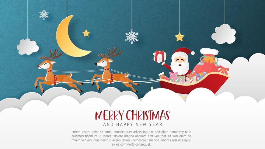 Buon Natale e felice anno nuovo biglietto di auguri in carta tagliata stile. Illustrazione vettoriale Sfondo di celebrazione di Natale. Banner, flyer, poster, carta da parati, modello, display pubblicitario.