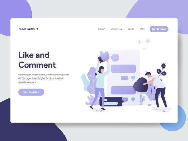 Modello di pagina di destinazione del concetto di illustrazione Like e Comment. Concetto di design piatto moderno di progettazione di pagine Web per sito Web e sito Web mobile. Illustrazione di vettore