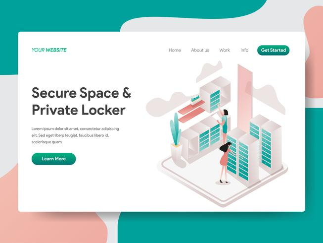 Modello di pagina di destinazione di spazio sicuro e concetto di illustrazione armadio privato. Concetto di design isometrico di progettazione di pagine Web per sito Web e sito Web mobile. Illustrazione di vettore