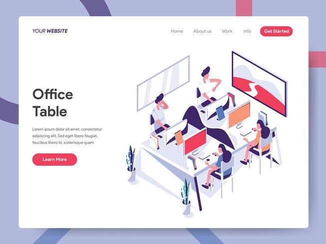 Modello della pagina di atterraggio del concetto dell'illustrazione della Tabella dell'ufficio. Concetto di design piatto isometrica della progettazione di pagine Web per sito Web e sito Web mobile. Illustrazione di vettore ENV 10