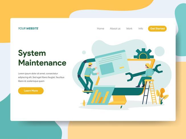 Modello di pagina di destinazione del concetto di illustrazione di manutenzione del sistema. Moderno concetto di design piatto di progettazione di pagine Web per sito Web e sito Web mobile. Illustrazione di vettore