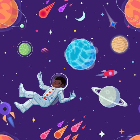 Astronauta allo spazio aperto fluttuante nell'antigravità. Vector cartoon seamless pattern