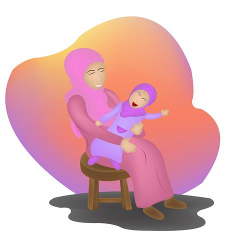 illustrazione di carattere giorno islamico madre vettore