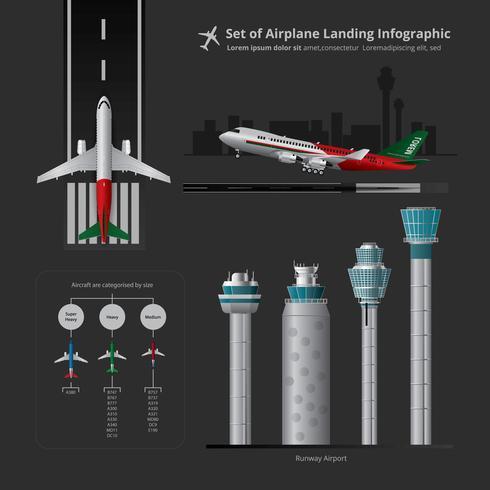 Insieme di atterraggio di aeroplano Infographic con l'illustrazione di vettore isolata torre di controllo