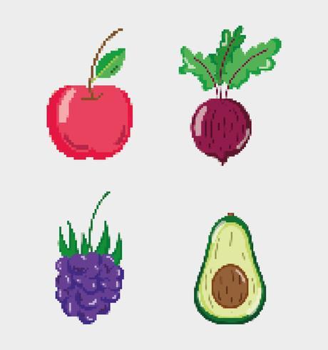 Set di cibo naturale pixelated vettore