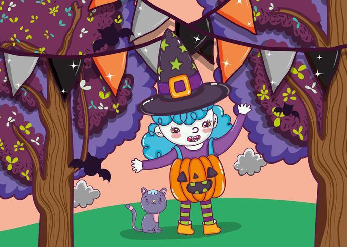 Cartoni animati carini di Halloween vettore