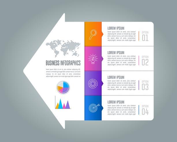 concetto di business design infografica con 4 opzioni. vettore