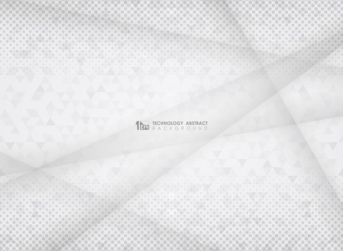 Fondo di semitono del triangolo del modello del gradiente grigio astratto di tecnologia. Decorazione per la presentazione di opere d'arte, pubblicità, poster, copertina, stampa. vettore