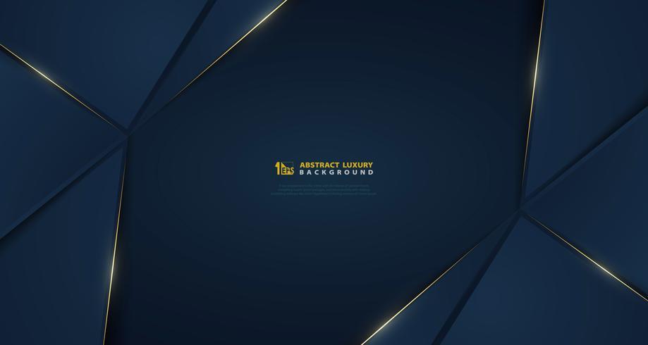 Gradiente blu scuro astratto vettoriale con linea luce dorata modello. illustrazione vettoriale eps10