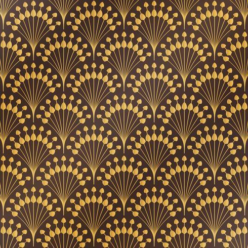 Fondo floreale del modello di art deco di lusso dell'oro classico astratto antico. È possibile utilizzare per lo stile di copertina, stampa, annuncio, poster, opere d'arte. vettore