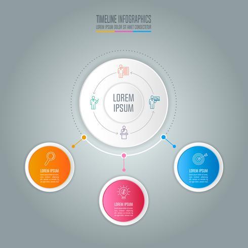 concetto di business design infografica con 3 opzioni vettore