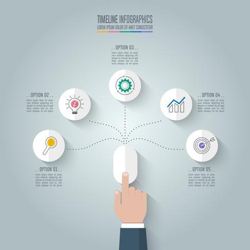 Mano di affari clicca il mouse con opzioni di infografica timeline 5. vettore