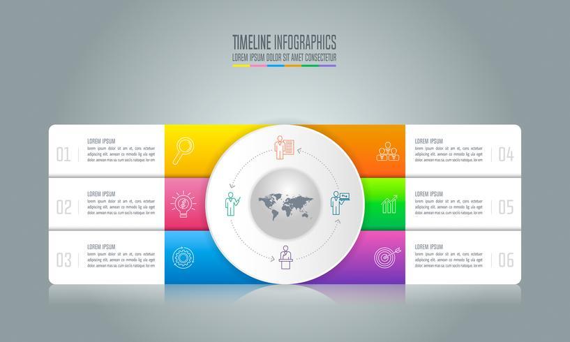 concetto di business design infografica con 6 opzioni. vettore