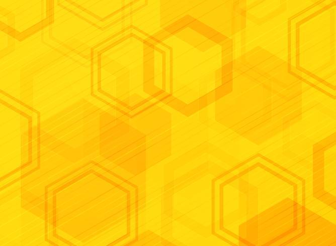 Fondo astratto di progettazione moderna del modello di esagono giallo di tecnologia. Decorare il design della dimensione del colore usando per pubblicità, poster, brochure, copia spazio, stampa, copertina. vettore