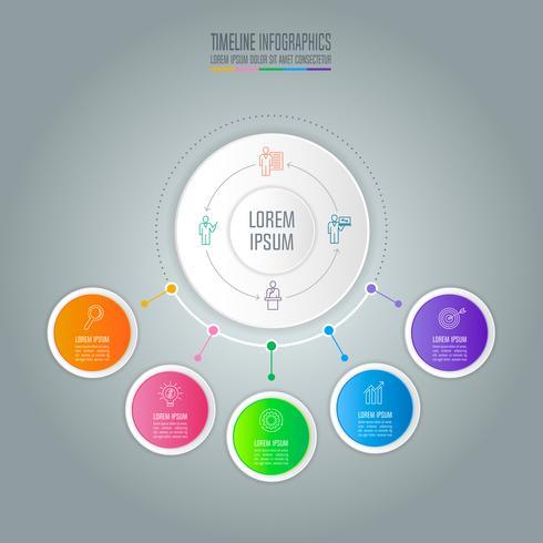 concetto di business design infografica con 5 opzioni. vettore