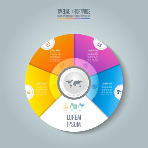 Concetto di business infografica Timeline con 4 opzioni. vettore
