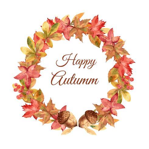 Cornice ghirlanda stagione autunnale con foglie e animali. Le carte di auguri di autunno perfette per la stampa, l'invito, il modello, progettazione creativa dell'illustrazione di vettore dell'acquerello