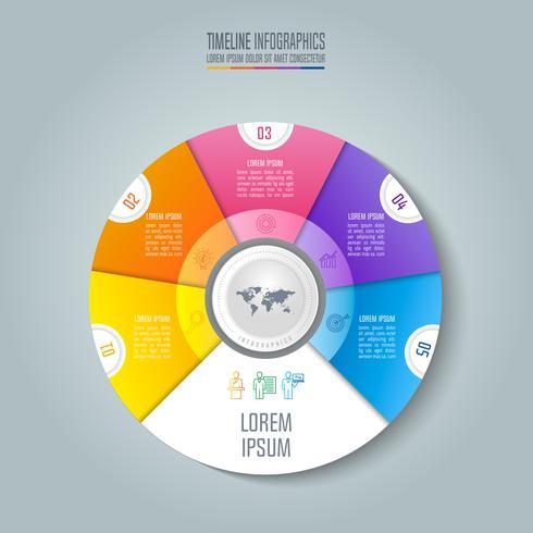 Concetto di business infografica Timeline con 5 opzioni. vettore