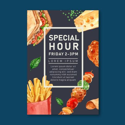 Progettazione del manifesto del ristorante degli alimenti a rapida preparazione per l'alimento appetitoso di sguardo del ristorante della decorazione, progettazione del modello, progettazione creativa dell'illustrazione di vettore dell'acquere