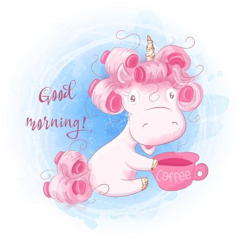 Cute Cartoon Unicorn su una priorità bassa dell'acquerello vettore