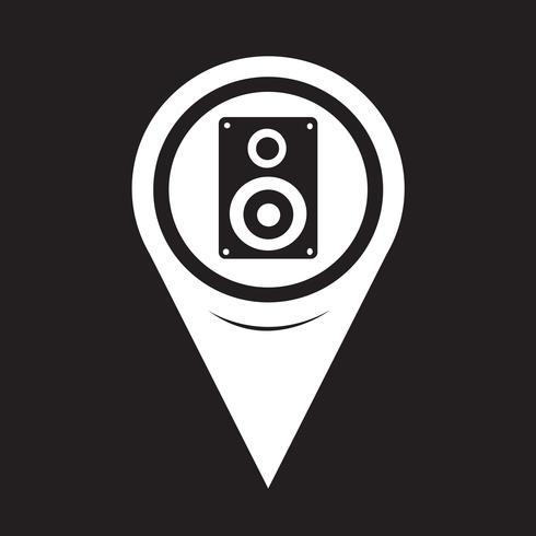 Icona puntatore mappa altoparlanti audio vettore
