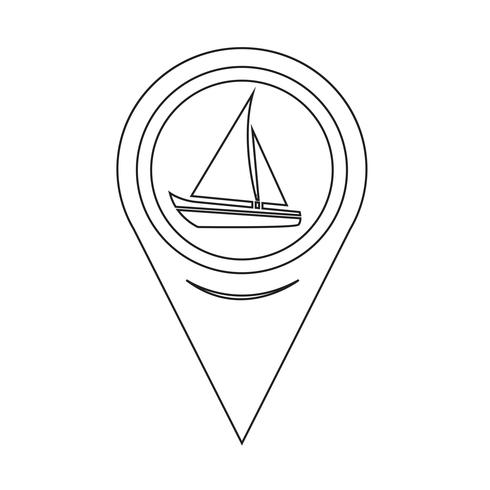 Mappa puntatore icona barca a vela vettore
